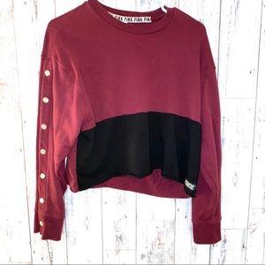 VS PINK S maroon color block cropped sweatshirt